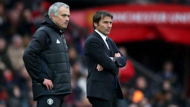 Antonio Conte (phải) đã thua Jose Mourinho trong trận đọ sức hôm 16/4