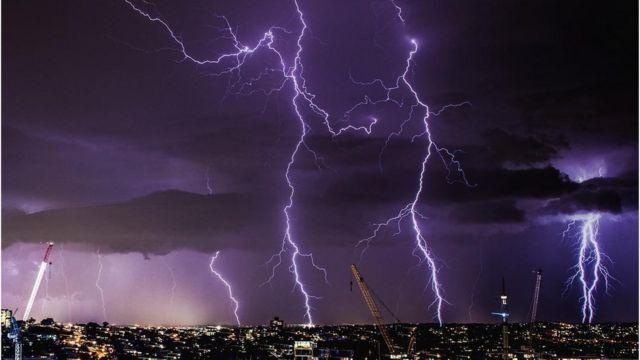 Night sky with lightning