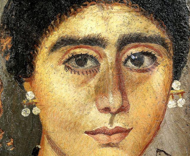 Civilización egipcia, período romano, siglo IV. Retrato de una mujer. Pintura en madera de El Fayum.