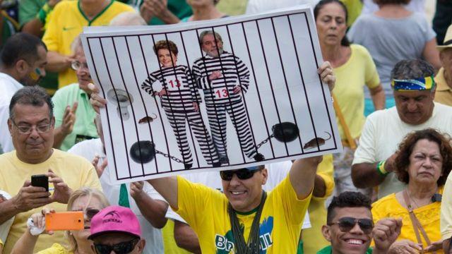 Protesta en contra de Lula y Dilma en Brasil