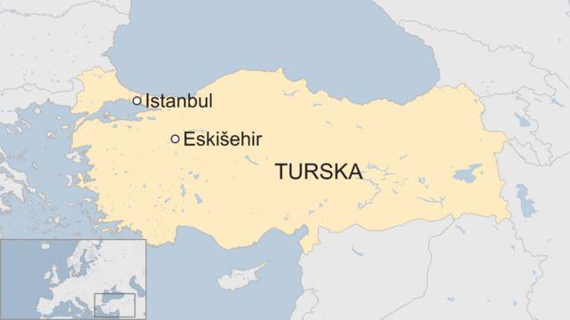 Mapa Turske, Istanbul i Eskišehir