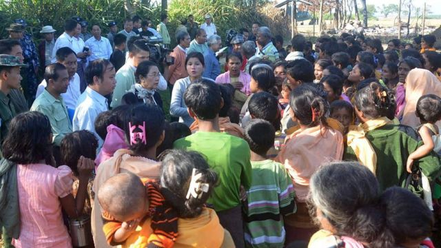 Rakhine State Investigation Commission officials meeting residents of Gwazon, a Muslim majority village in Maungdaw located in Rakhine State near the Bangladesh border, where a military officer was killed by a group of attackers on November 12.