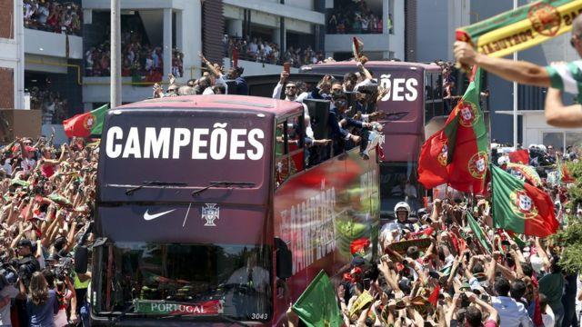 Футболисты в автобусах
