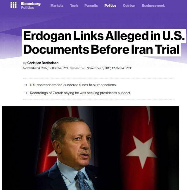 Bloomberg Erdoğan Reza Zarrab manşeti