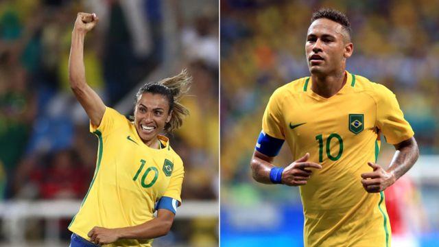 Los jugadores de la selección brasileña Marta y Neymar vistiendo la camiseta número 10.