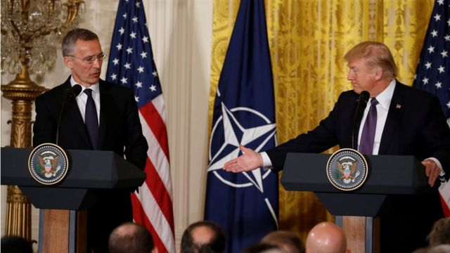 NATO Genel Sekreteri Jens Stoltenberg ve Donald Trump