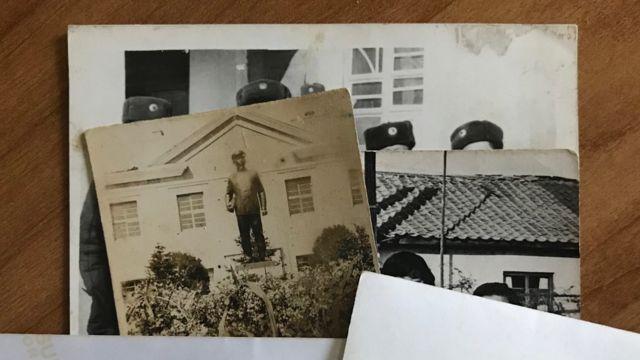 길주군 출신 탈북자가 어렵게 공개한 사진. 맨 뒤 사진의 상단 부분이 풍계리에 있는 재덕역이다. 오른쪽 기와지붕이 고향 집, 왼쪽은 길주 제1중학교 김일성 동상이다.