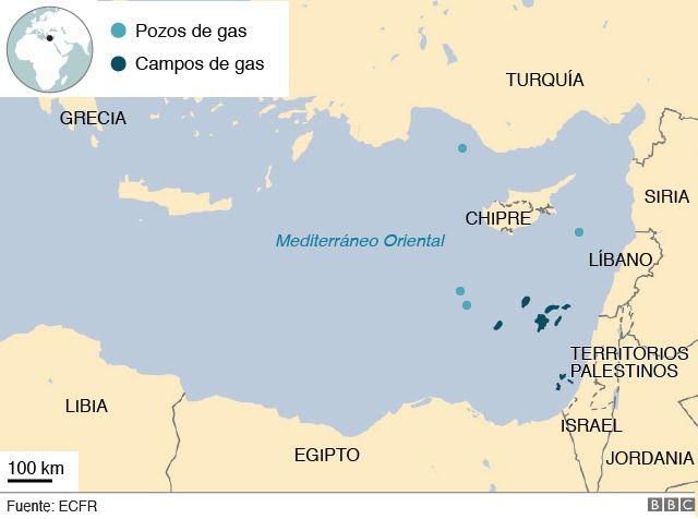 Campos y pozos de gas en el Mediterráneo.