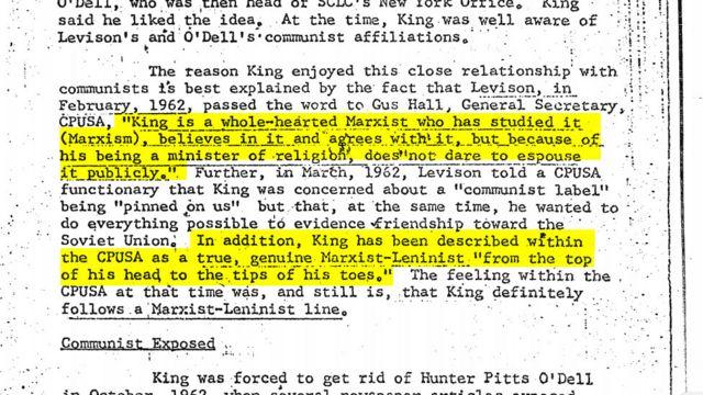 در اکثر این مدارک مارتین لوتر کینگ به عنوان یک سمپات کمونیسم ترسیم شده است