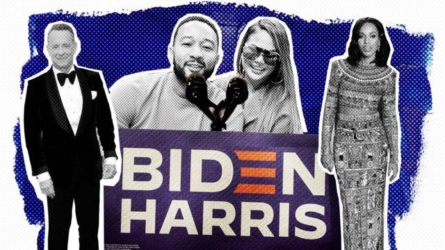 Tom Hanks, John Legend, Chrissy Teigen et Kerry Washington à côté d'une affiche de Biden-Harris