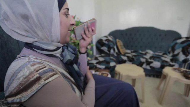 Aleppo residents communicate with family