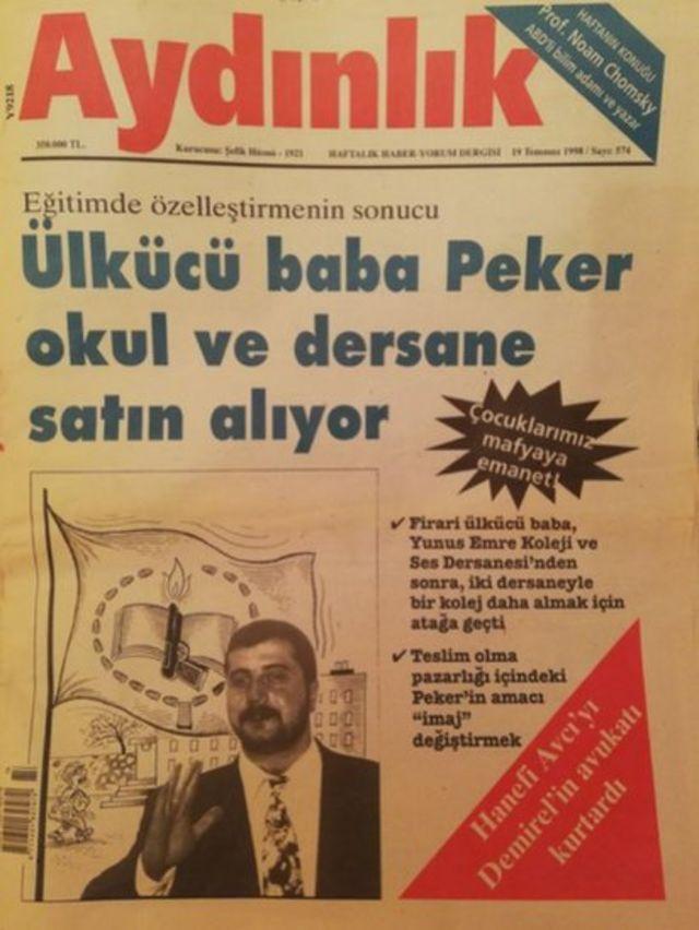 Aydınlık dergisinin Peker'le ilgili haberi. Peker ilerleyen yıllarda eğitim alanından çekildiğini açıkladı.
