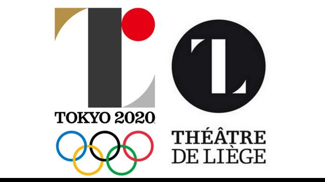 composite image showing scrapped Tokyo logo and Theatre de Liege design