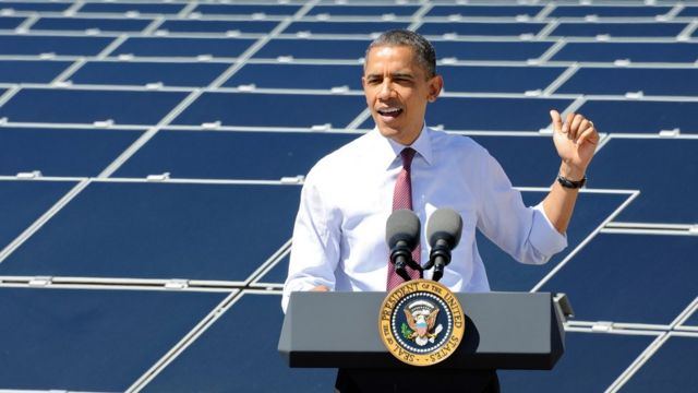 Obama says shift to green energy is 'irreversible' despite Trump