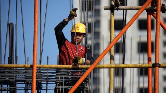 Trabalhador da construção civil na China