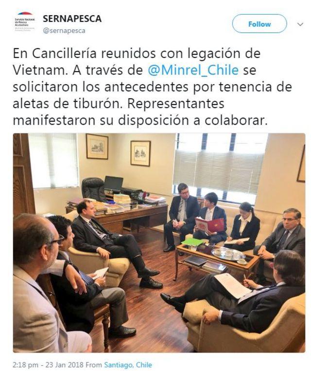 Twitter của Cơ quan ngư nghiệp và nuôi trồng thủy sản quốc gia Chile