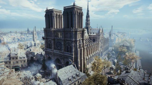 كاتدرائية نوتردام في باريس كما تظهر في لعبة الفيديو