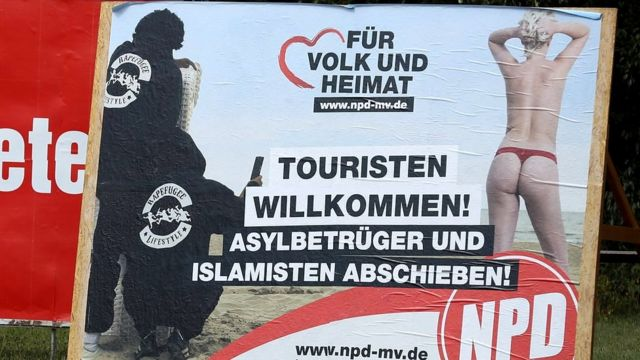 Плакат НДПГ в Шверине, 15 августа 2016 года