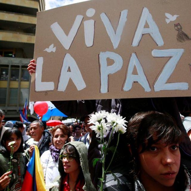 Marcha a favor de la paz en Colombia