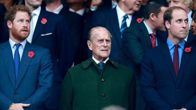 The Duke of Sussex, the Duke of Edinburgh and the Duke of Cambridge in 2015.