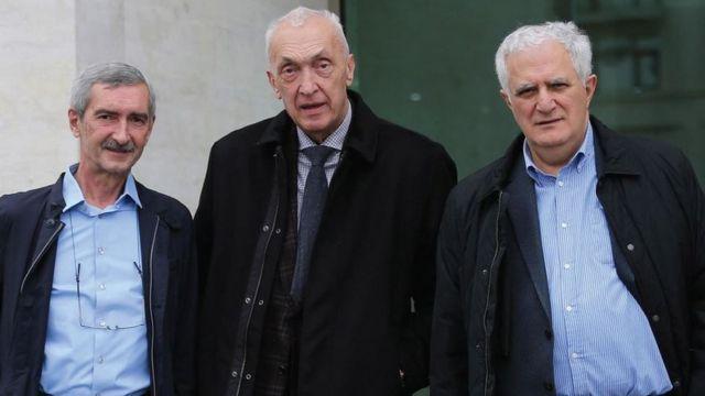 """Gürcüstanın koronavirusa cavab strategiyasının """"üç muşketyoru"""": (soldan sağa) Paata İmnadze, Tenqiz Tsertsevadze və Amiran Qamkrelidze."""