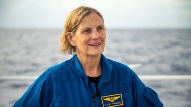 Dr Kathy Sullivan on the deck of a ship