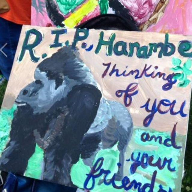 「ハランビのために正義を」と書かれたポスター