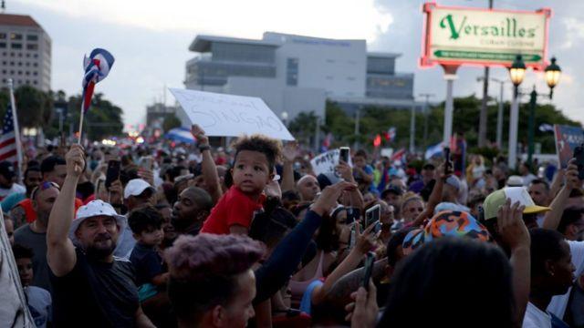 Manifestación en Miami contra el gobierno de Cuba