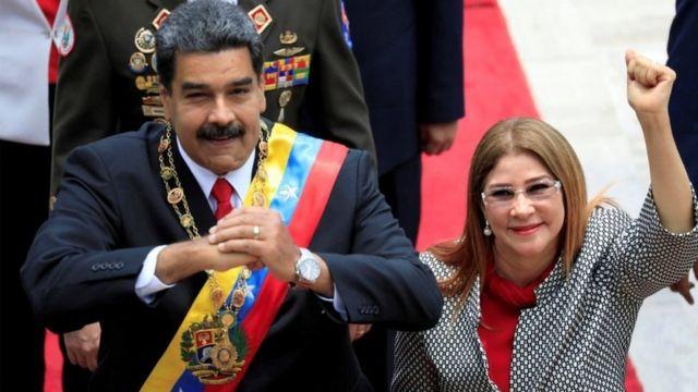 Nicolás Maduro com a mulher Cilia Flores