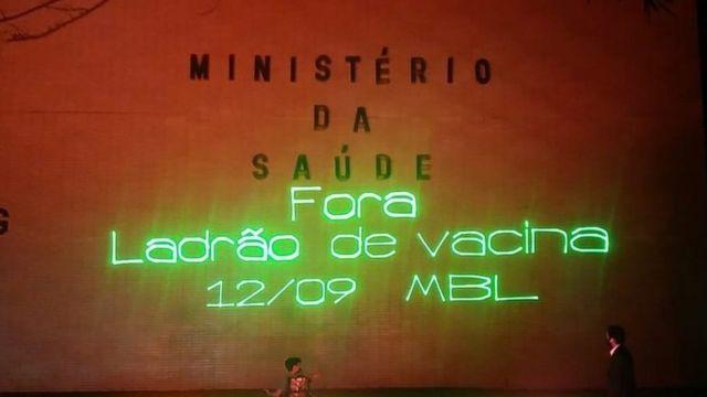 Projeção realizada pelo MBL na fachada do Ministério da Saúde, em Brasília