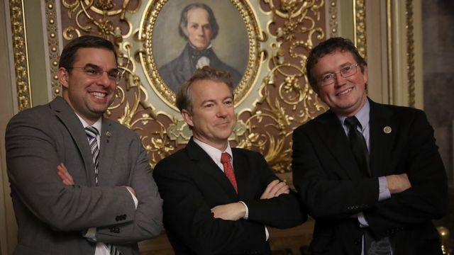 Sen. Rand Paul (C) (R-KY) takes a brief break from the floor of the U.S. Senate to pose for a photo with Rep. Justin Amash (L) (R-MI) and Rep. Thomas Massie (R) (R-KY) at the U.S. Capitol February 8, 2018 in Washington, DC.