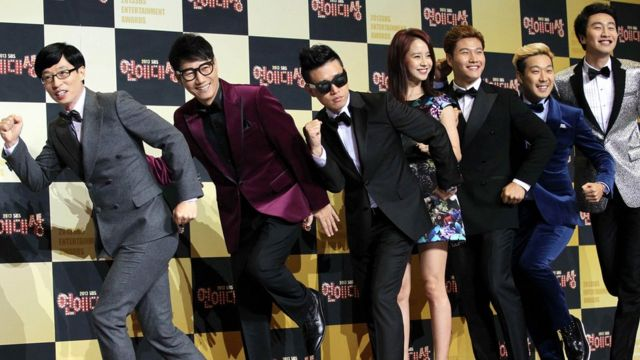 Cast members of 'Running Man' arrive at the red carpet of the 2013 SBS Entertainment Awards at SBS Prism Tower on December 30, 2013 in Seoul, South Korea.
