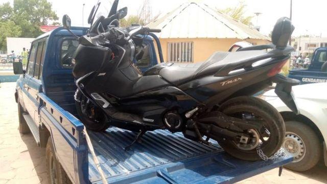 La moto sur laquelle circulait le fugitif