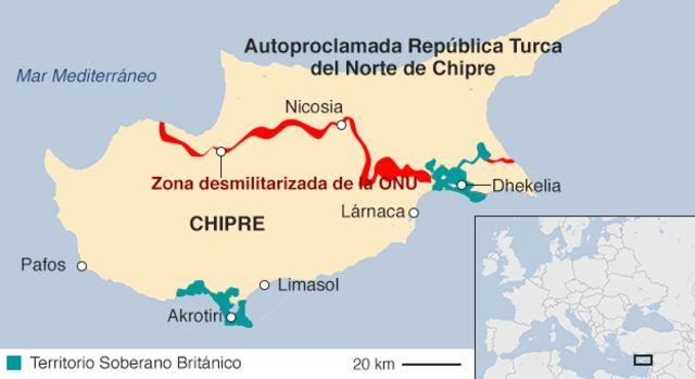 Mapa de Chipre dividido