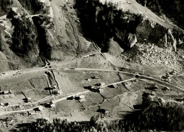 Aerial view of Mitholz after the explosion