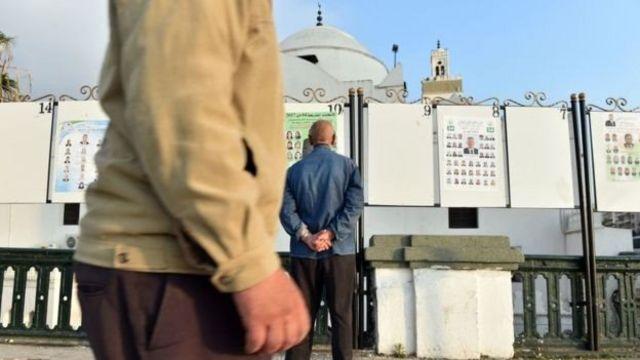 Cezayir'de seçim afişlerine bakan adam