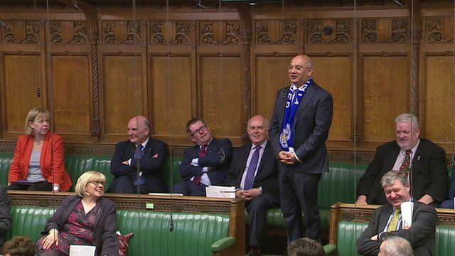 MP Keith Vaz wearing Leicester City football scarf
