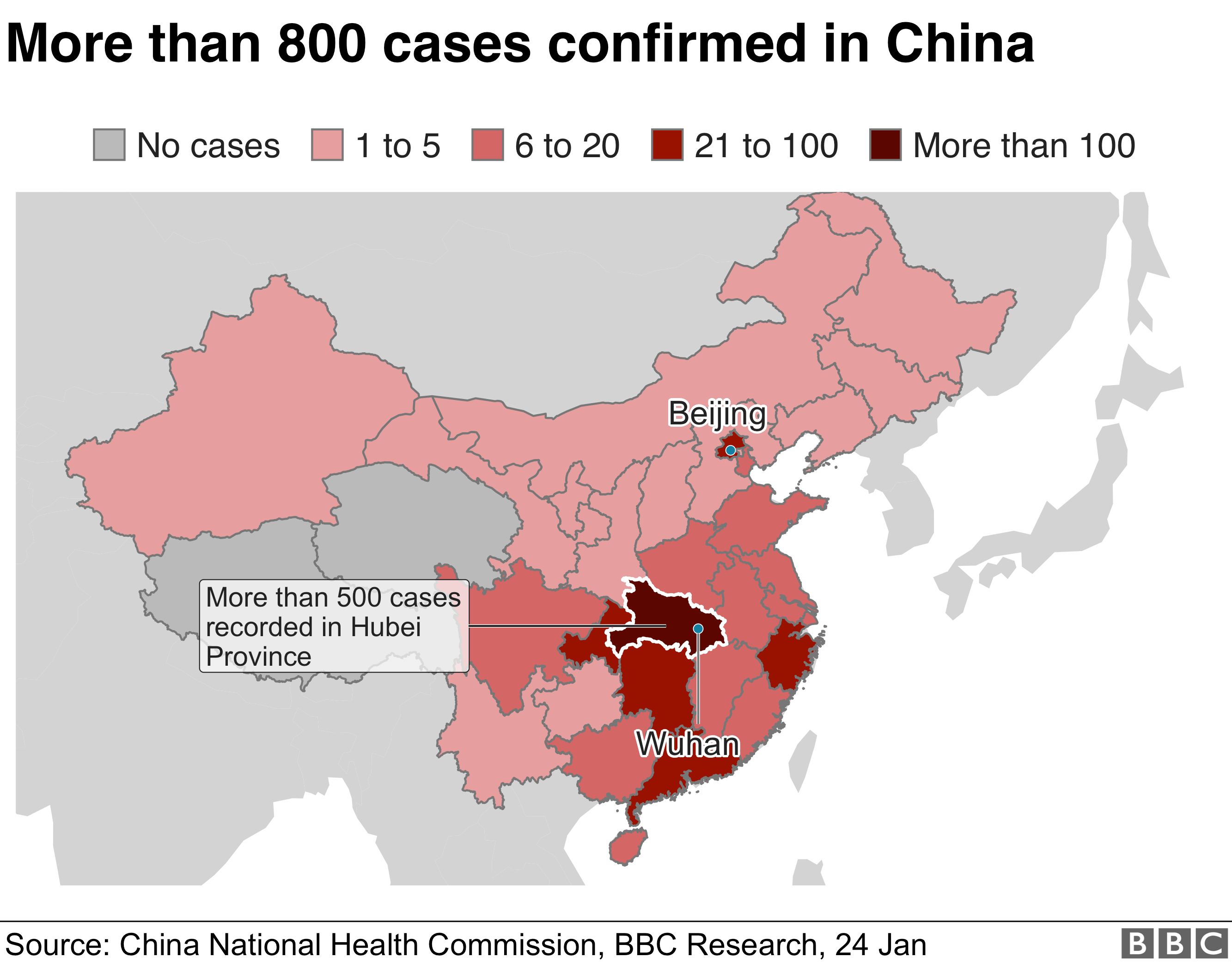 A heatmap shows the spread of the virus in China