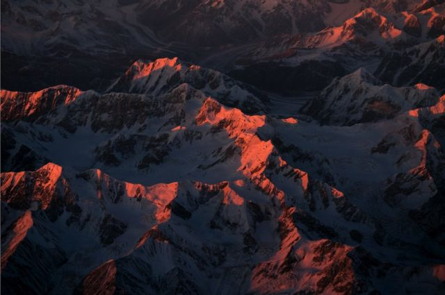 Mountains in pink light