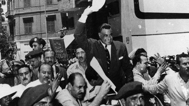 """Nasser following his announcement that he had """"taken over"""" the Suez Canal Company"""