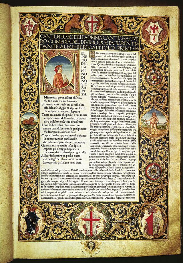 El infierno de la Divina Comedia, primera página iluminada, edición anotada por Cristoforo Landino, 1481. Florencia, Biblioteca Nazionale Centrale
