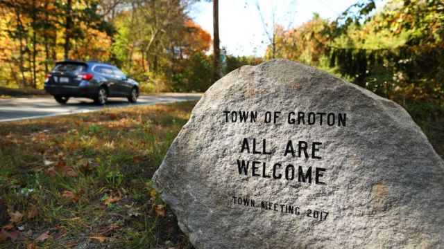 Groton, a town in Massachusetts, arranged a stone with the carved message of