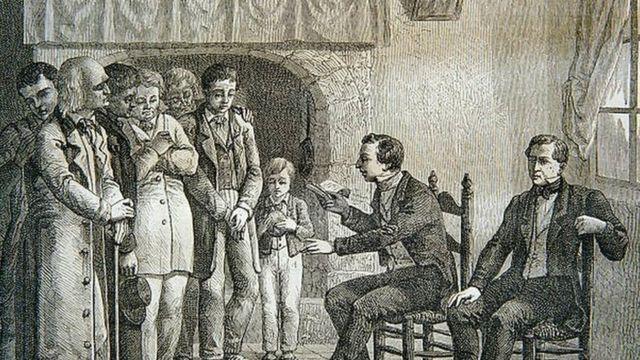 Joseph Smith lisant le Livre de Mormon