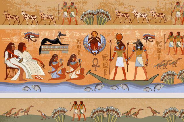 Mural com imagens do Egito Antigo