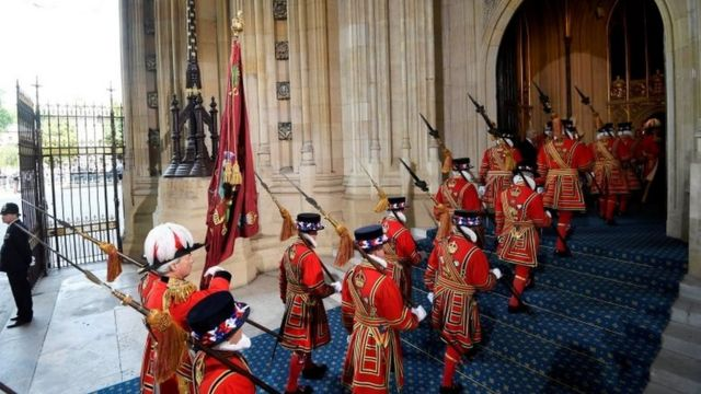 Yeomen of the Guard arrive ahead of the State Opening of Parliament