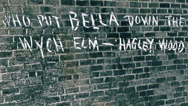 Pregunta grafitada en la pared: Quién puso a Bella en el olmo de Hagley Wood