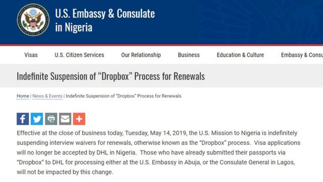 Us Embassy Don Suspend Dropbox Visa Renewal Program Afta Five Years Bbc News Pidgin