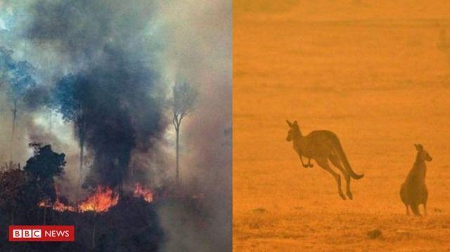 Montagem de incêndio na Amazônia (à esq) e incêndio na Austrália