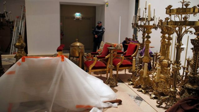 Historical and religious artefacts saved from Notre-Dame cathedral in transit to the Louvre Museum, April 2019