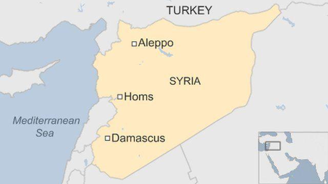 シリアのホムス(Homs)、ダマスカス(Damascus)などの位置